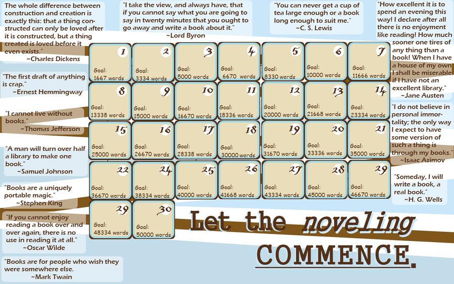 NaNoWriMo Quote Calendar by ElaineRose