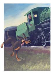 Rattler chasin' the train by gryen