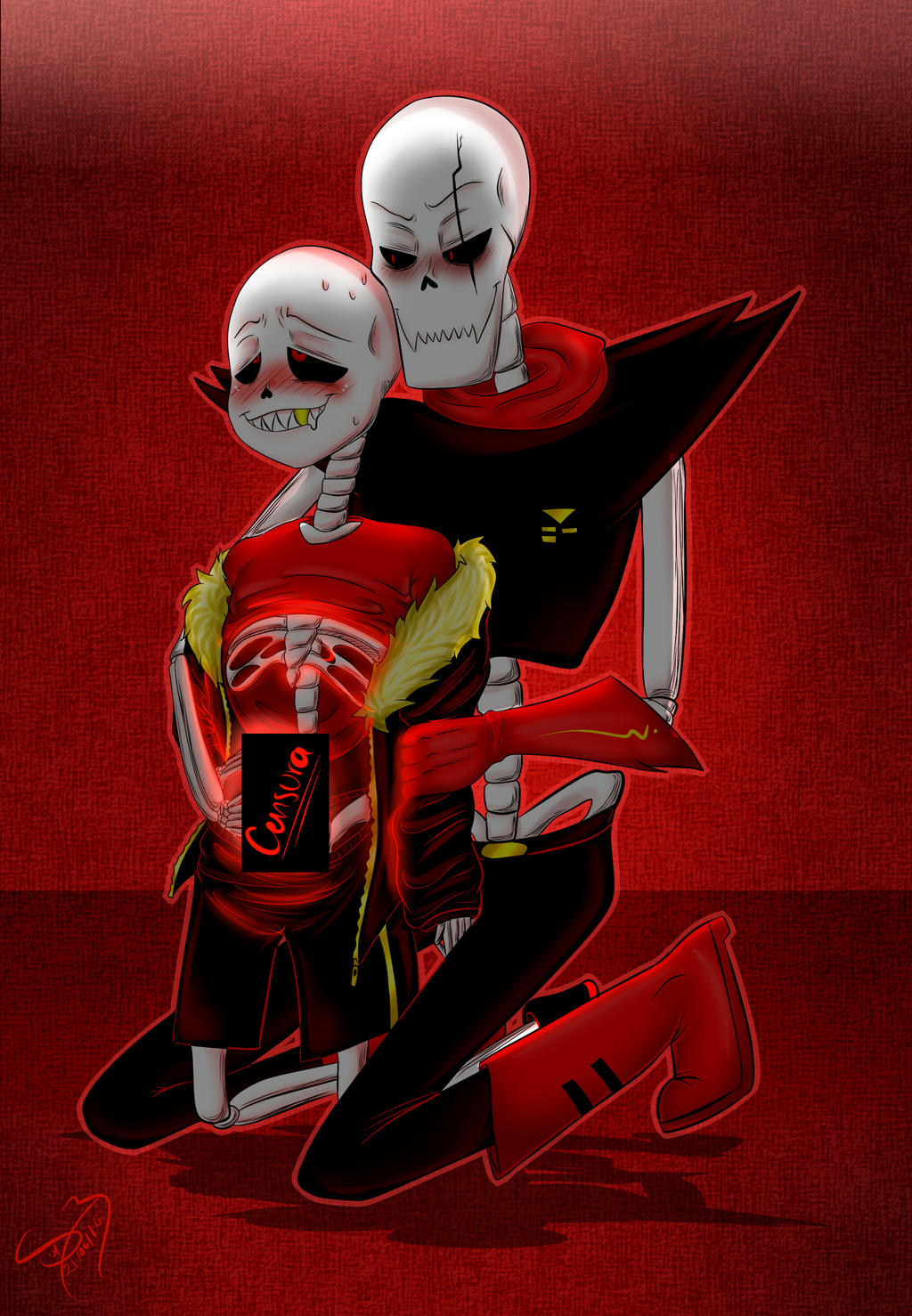 group of underfell sans and papyrus