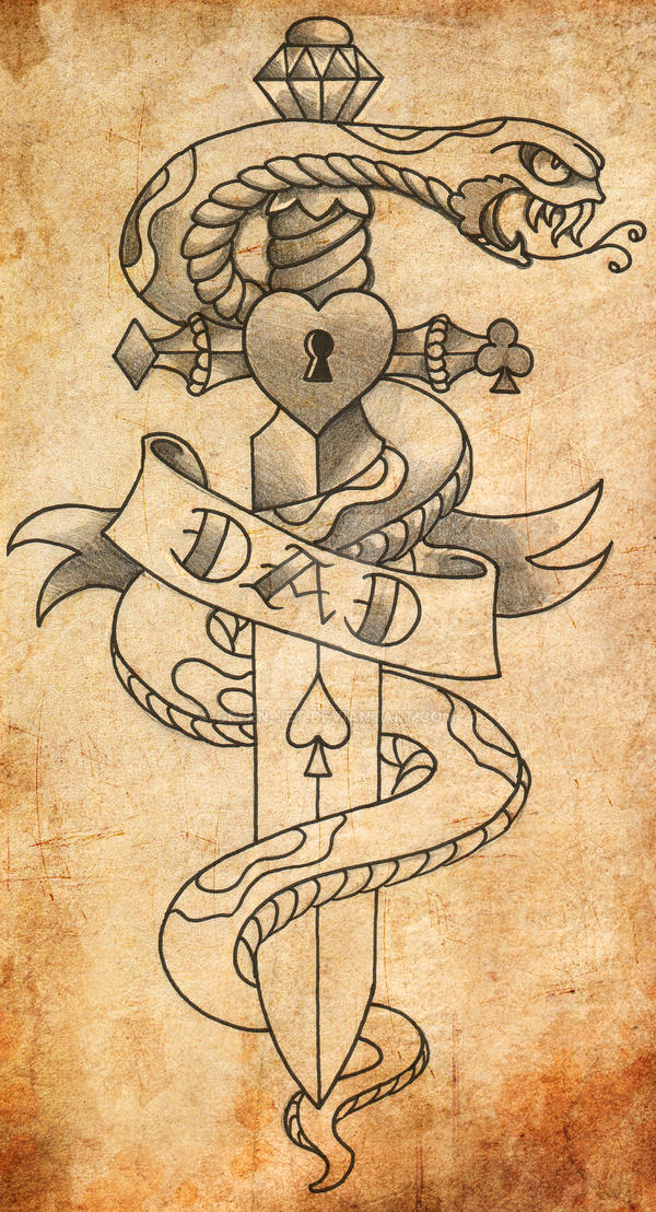Old school snake and dagger by green jet on deviantart for Snake and dagger tattoo