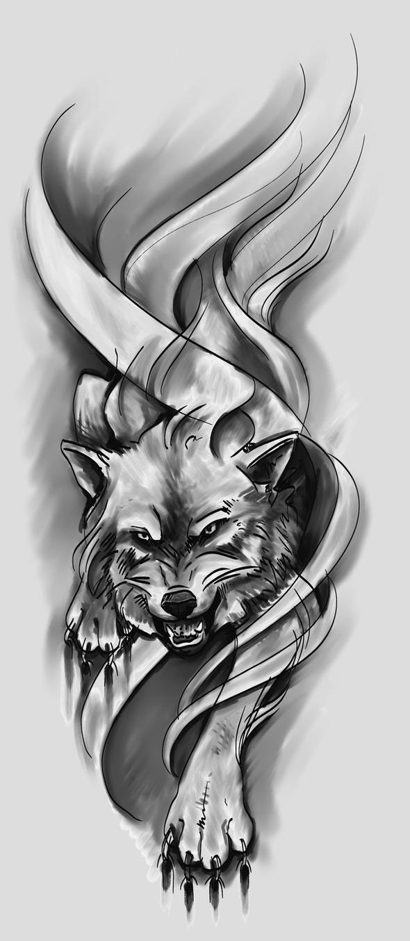 Wolf Tattoo Sketch Wolf Design Sketch by