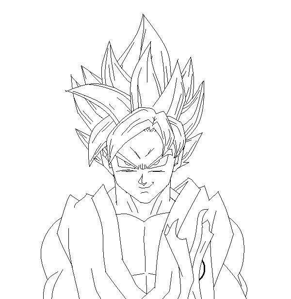 Super Saiyan God 2 Goku with Blue Hair LineArt by SonBui on DeviantArt