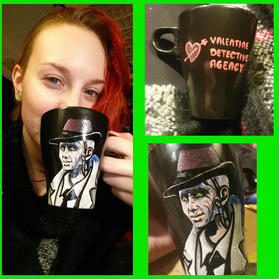 Fallout 4, Nick Valentine on a cup, why not? :) by Aku-Soku-San