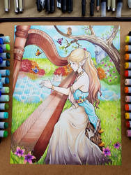 Elf playing a harp