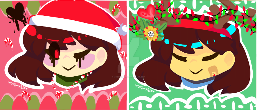 Chara and Frisk Christmas Icons by moon-rabb1t on DeviantArt