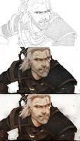 Making step by step Geralt by WitcheressWoxy