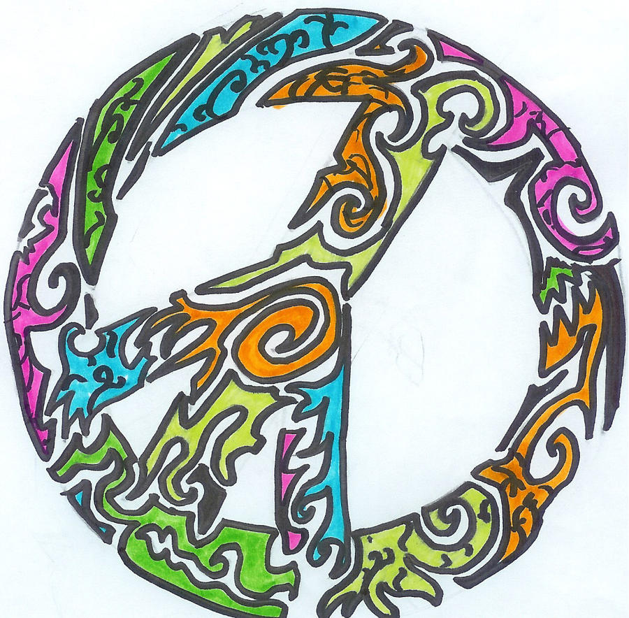 tribal peace sign tattoo by Pantherflame