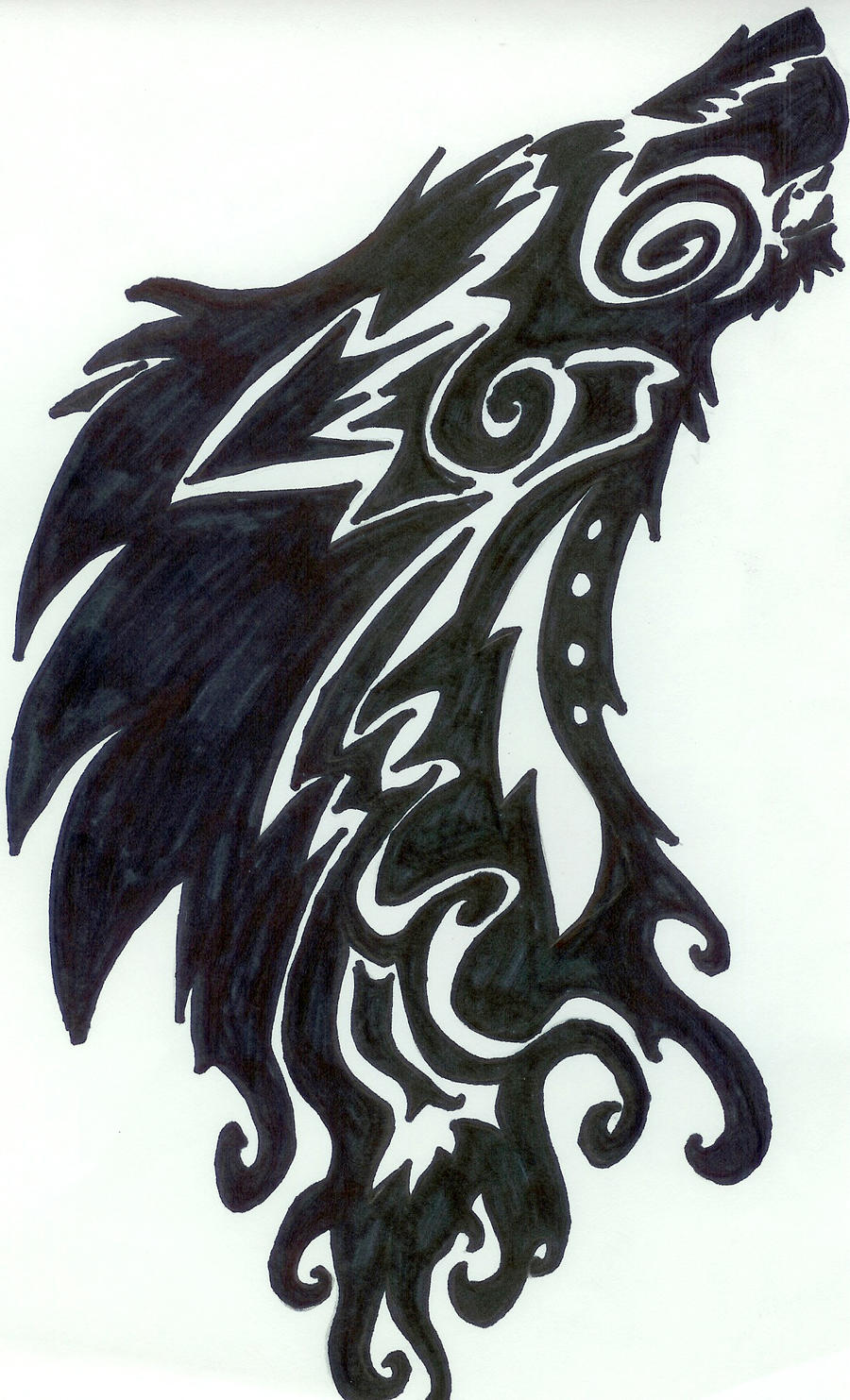 tribal howling wolf tattoo by pantherflame on deviantart. Black Bedroom Furniture Sets. Home Design Ideas