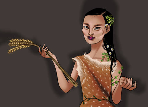 Forest lady with wheat