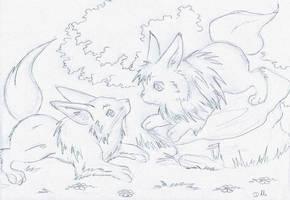 Fennec et Evolie by ZeldaPeach