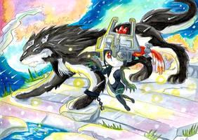 Link loup et midona aquarelle by ZeldaPeach
