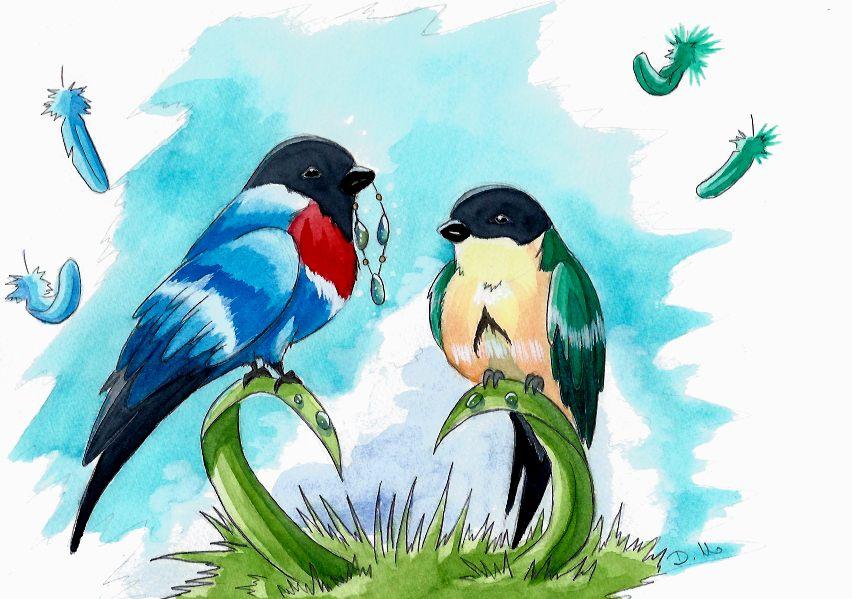 Oiseaux Aquarelle by ZeldaPeach