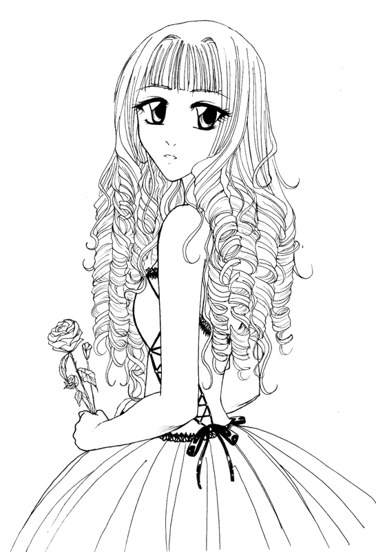 Curley hair Girl for Hele-san by KazumiAkai