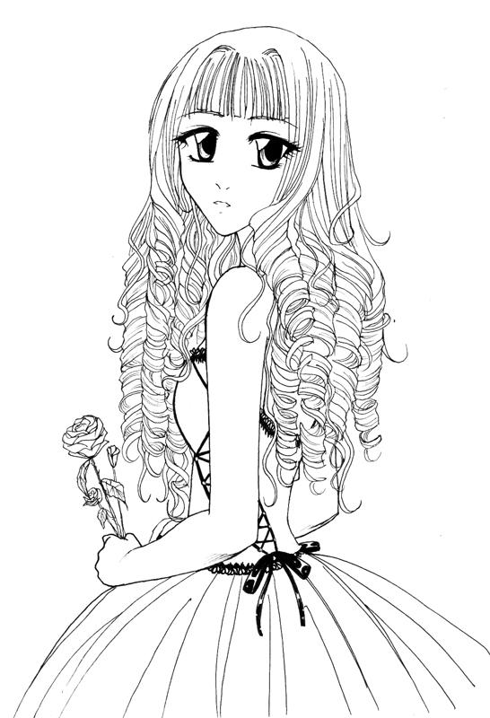 Curley hair Girl for Hele-san by KazumiAkai