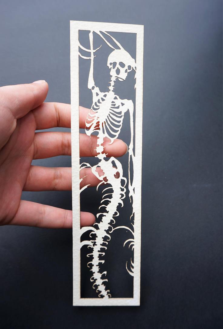 Mermaid skeleton bookmark by Artshula