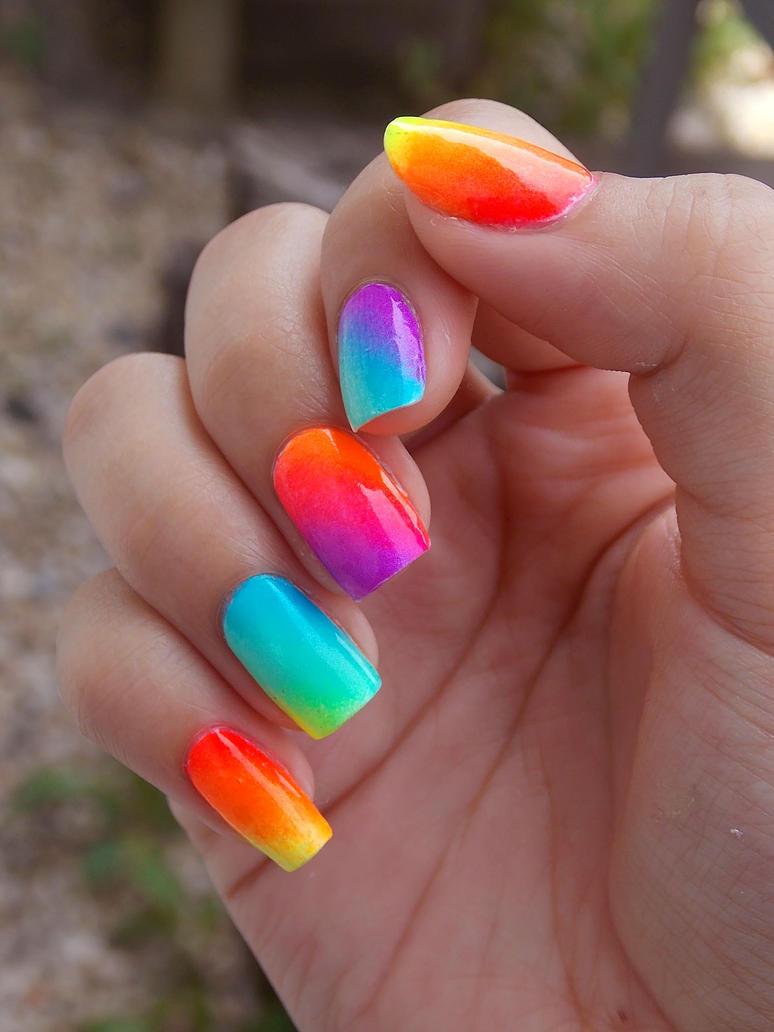 Rainbow Neon Gradient Nails by Velvet225 on DeviantArt