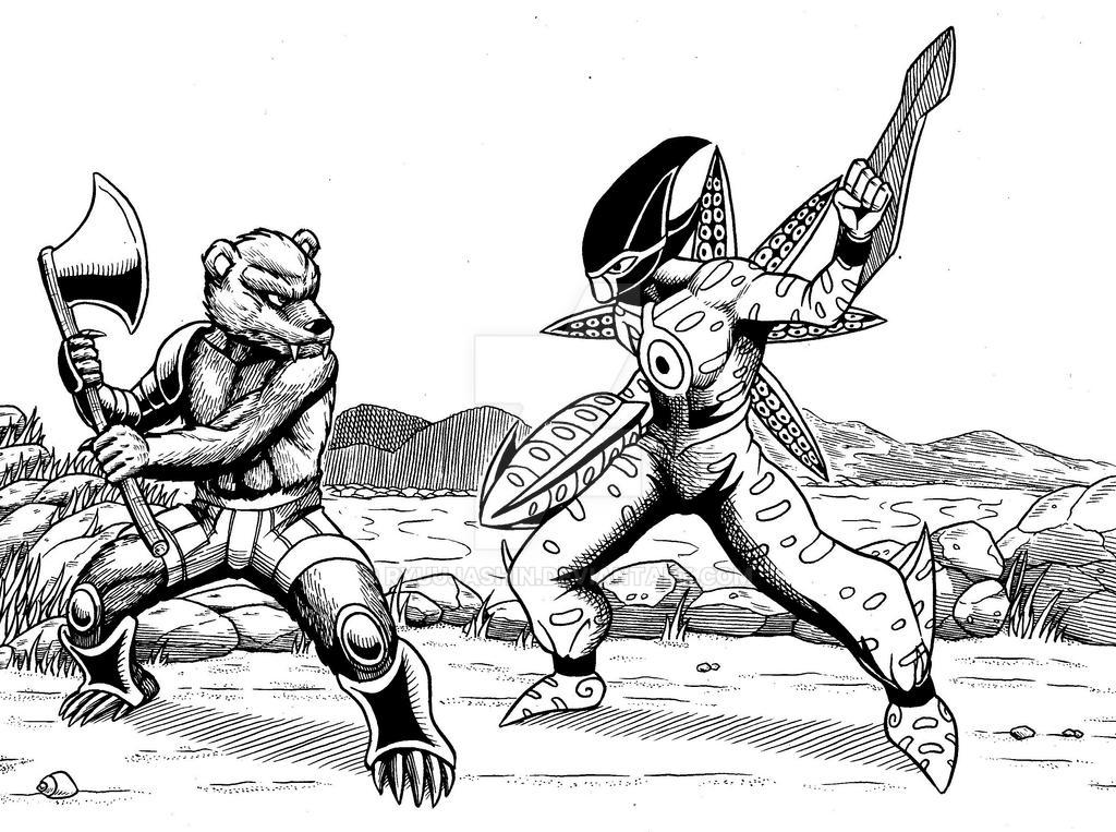 Ursa Gladiator vs Sepia Spear by RyuuJashin