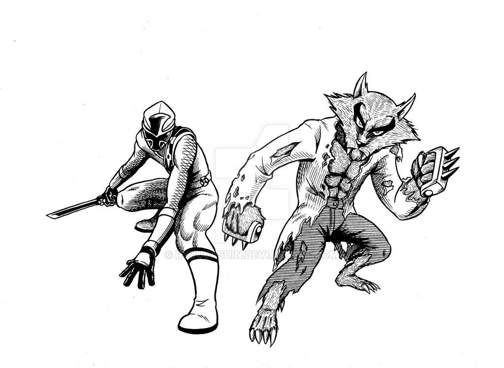 Akaninger and Werewolf pen sketch by RyuuJashin