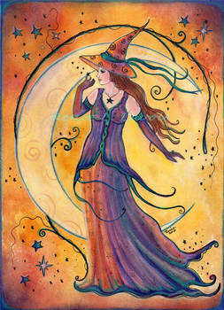Whimsical evening witch
