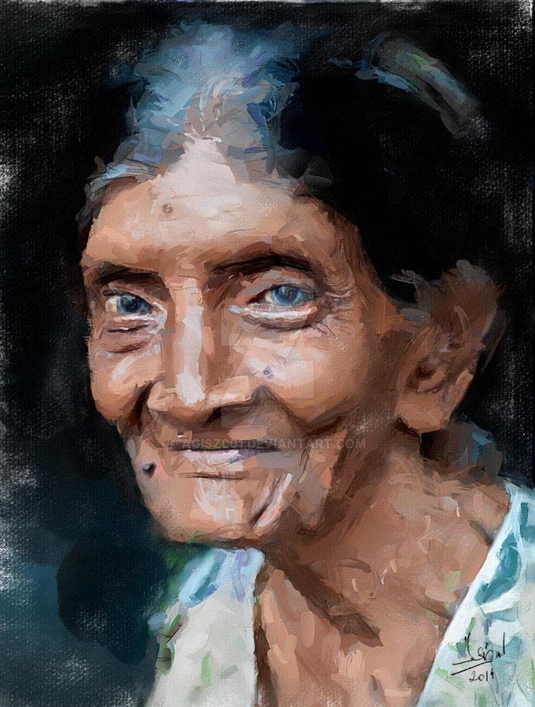 Old Lady Digital Painting By Agisz001 On Deviantart