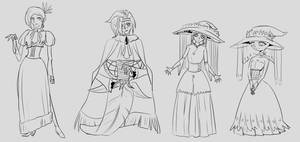 Shamaness and Witch Disciple sketches by Lumanic
