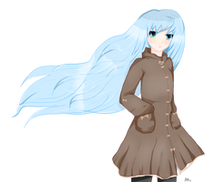 Transparent blue haired anime girl.