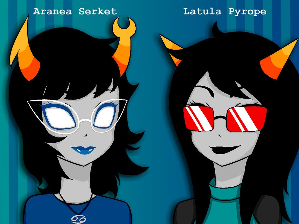 Homestuck - Aranea and Latula by zackstrider
