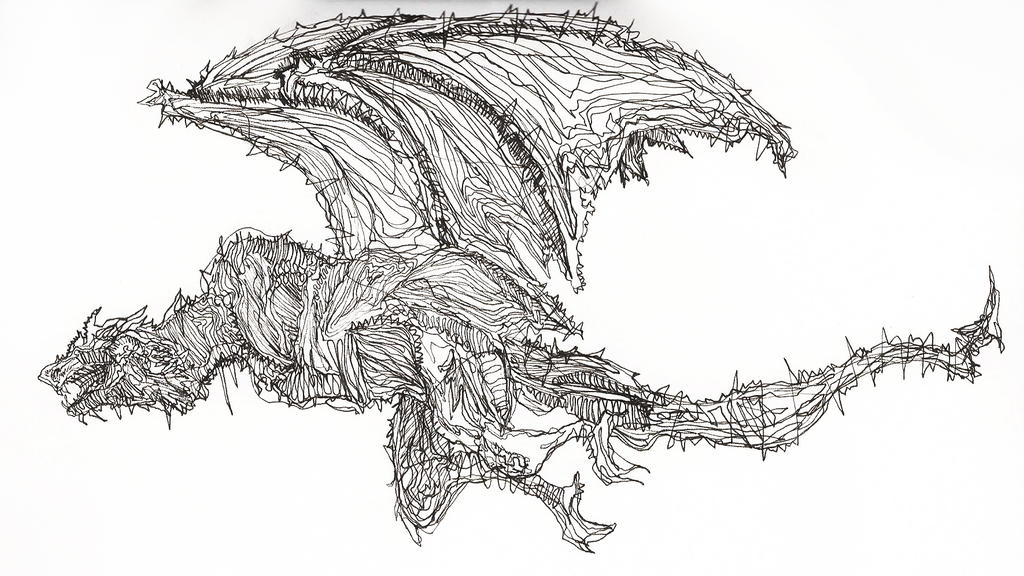 Line Drawing Dragon : Continuous line drawing dragon by toucanoe on deviantart
