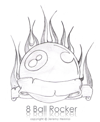 8 ball tattoos. flame tattoos 8 Ball Rocker
