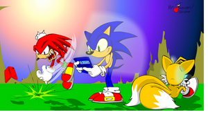 Sonic and friends playing DS by Rovertarthead