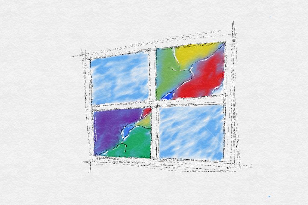 Microsoft broken window sketch paint by Rovertarthead