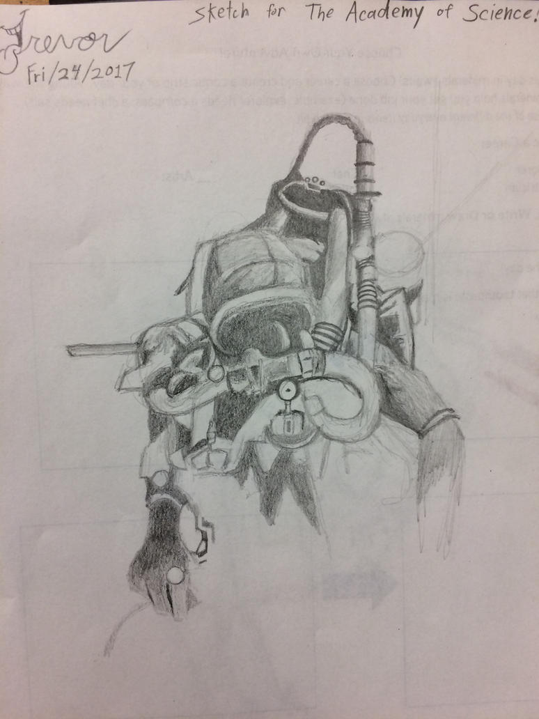Unfinished scuba diver front view by Rovertarthead