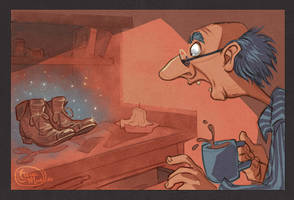 Bros Grimm Illustrations: Elves and the Shoemaker by dizzyclown