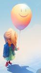 Sad Balloon Girl by dizzyclown