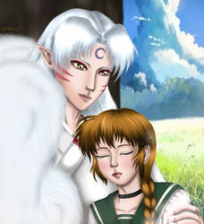 Umi's nap with Sesshomaru (request) by Nariko-Lily