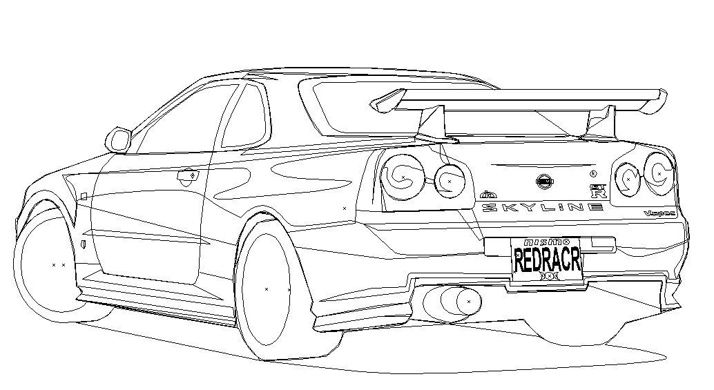 nissan gtr nismo coloring pages | Nissan Skyline Gtr R34 Drawing Sketch Coloring Page