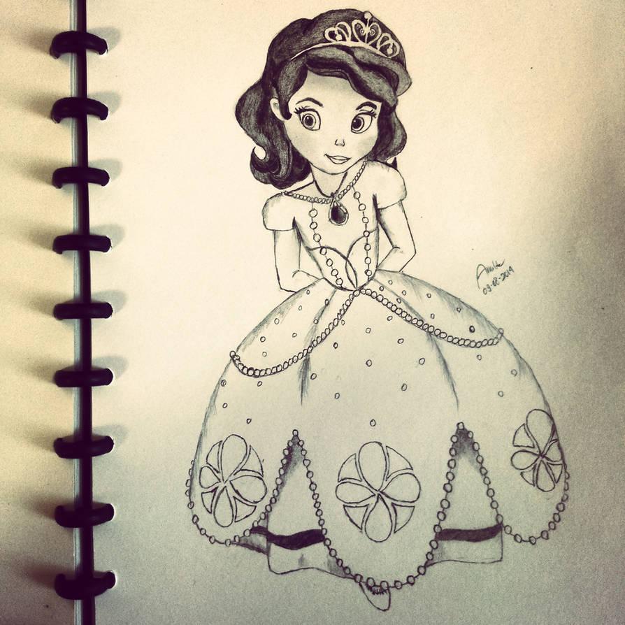 Disney princess sofia pencil sketch by andrestreamz