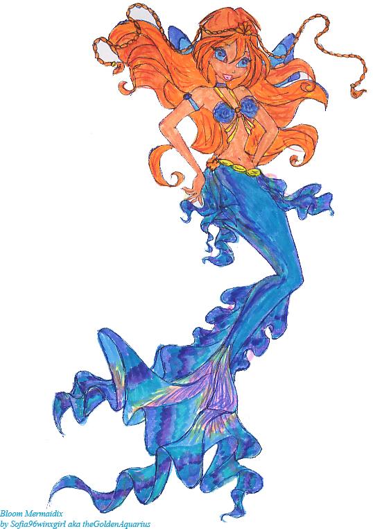 bloom mermaidix lineart painted by thegoldenaquarius on
