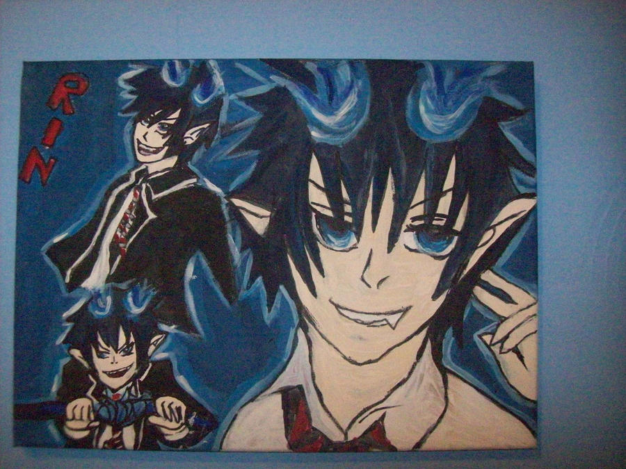 Canvas 2 Anime Characters : Okumura rin painting on canvas by bekumura deviantart