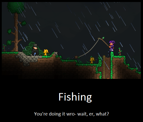 Equipment uses terraria players by littlewriterlink on for Real life fishing games