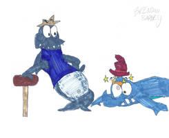 Sharktooth knocks out Mr. Brissles by BrendanDoesArt