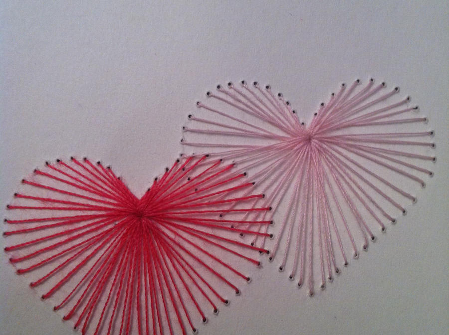 Double heart paper embroidery by sgiffio on deviantart