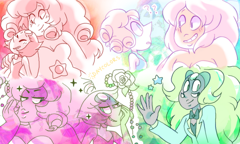 some pearl and rose doodles nobody asked for, aagh I'm sorry I cant draw anything good right now x-x