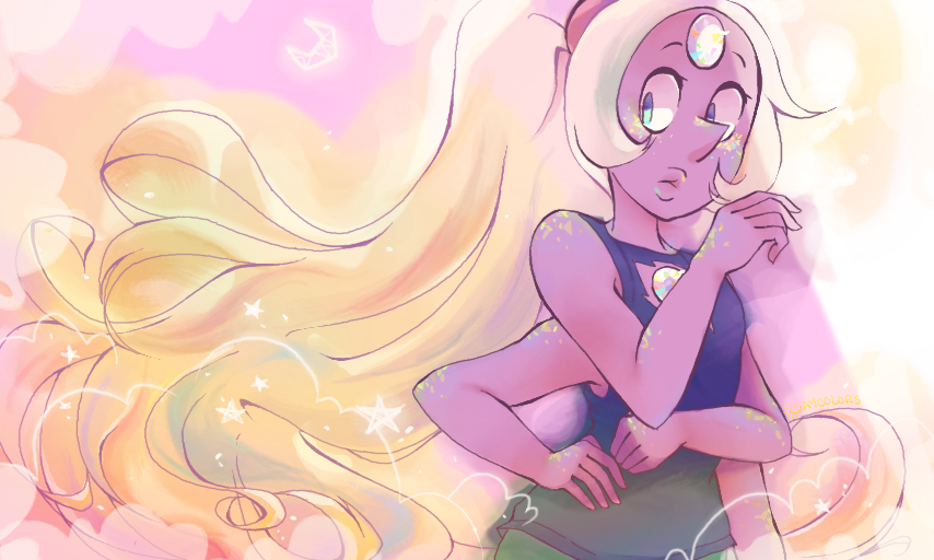 A messy opal, I kinda like it this way? I have the urge to try to finish this but I wonder if it'd ruin the feel...
