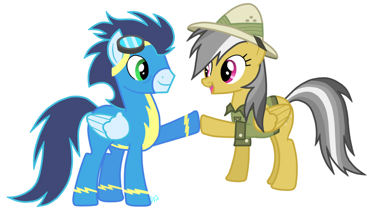 Soarin' and Daring-Do Hoofshake by DrumblastingQuilava