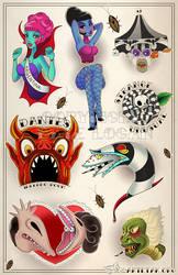Beetlejuice Tattoo Flash