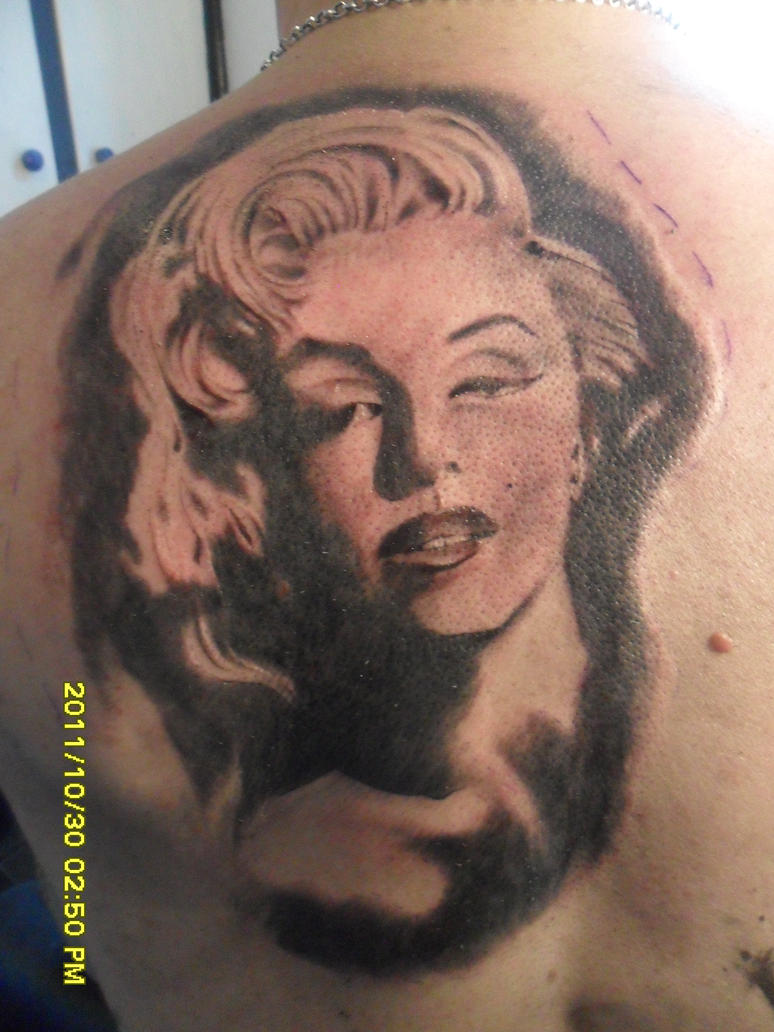Marilyn monroe tattoo by by daidavies on deviantart for Marilyn monroe tattoo canvas