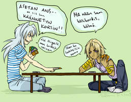 YGO: Bakura learning DM by Puffsan