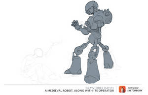 Drawtober Day 01   A Medieval Robot By Drawtober-d by EmoUberNoob