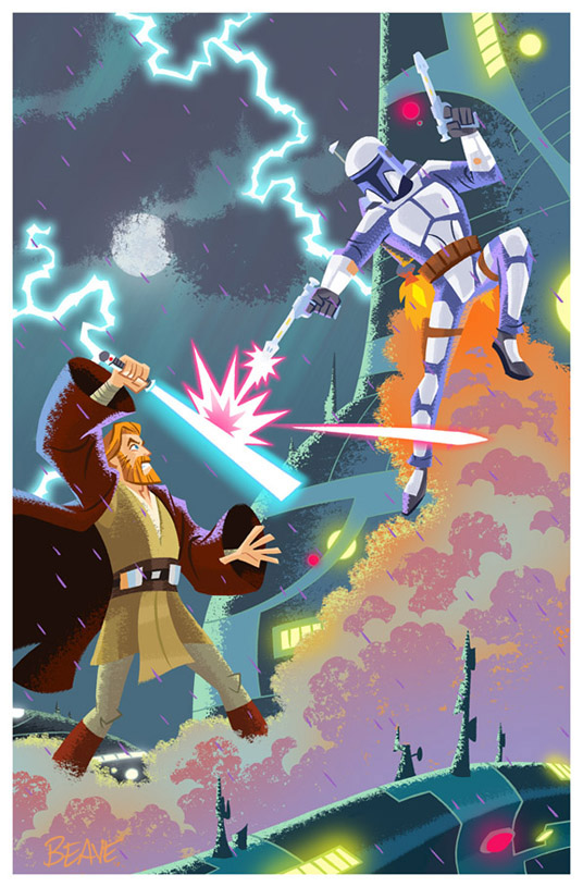 Obi Wan and Jango by cretineb